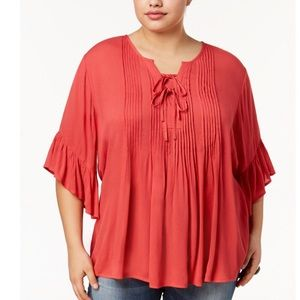 Style & Co Tie Front Belle Sleeve Blouse NWT Large